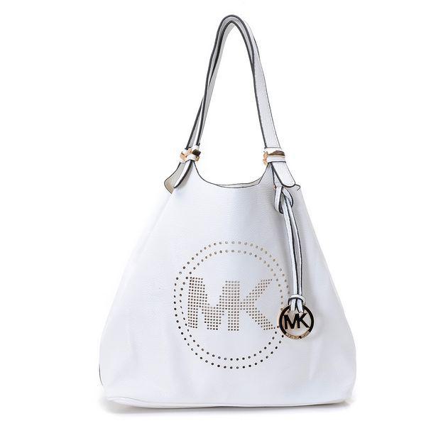 114aaa8788ef MICHAEL Michael Kors Large Perforated-Logo Grab Bag White