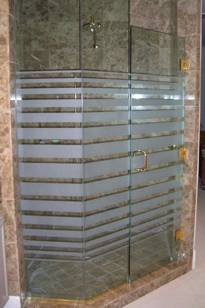 Glass Shower Doors Etched Glass Modern Decor Rectangles Pattern