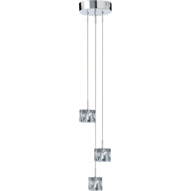 Searchlight lighting ice cube polished chrome 3 light halogen pendant lighting type from castlegate lights