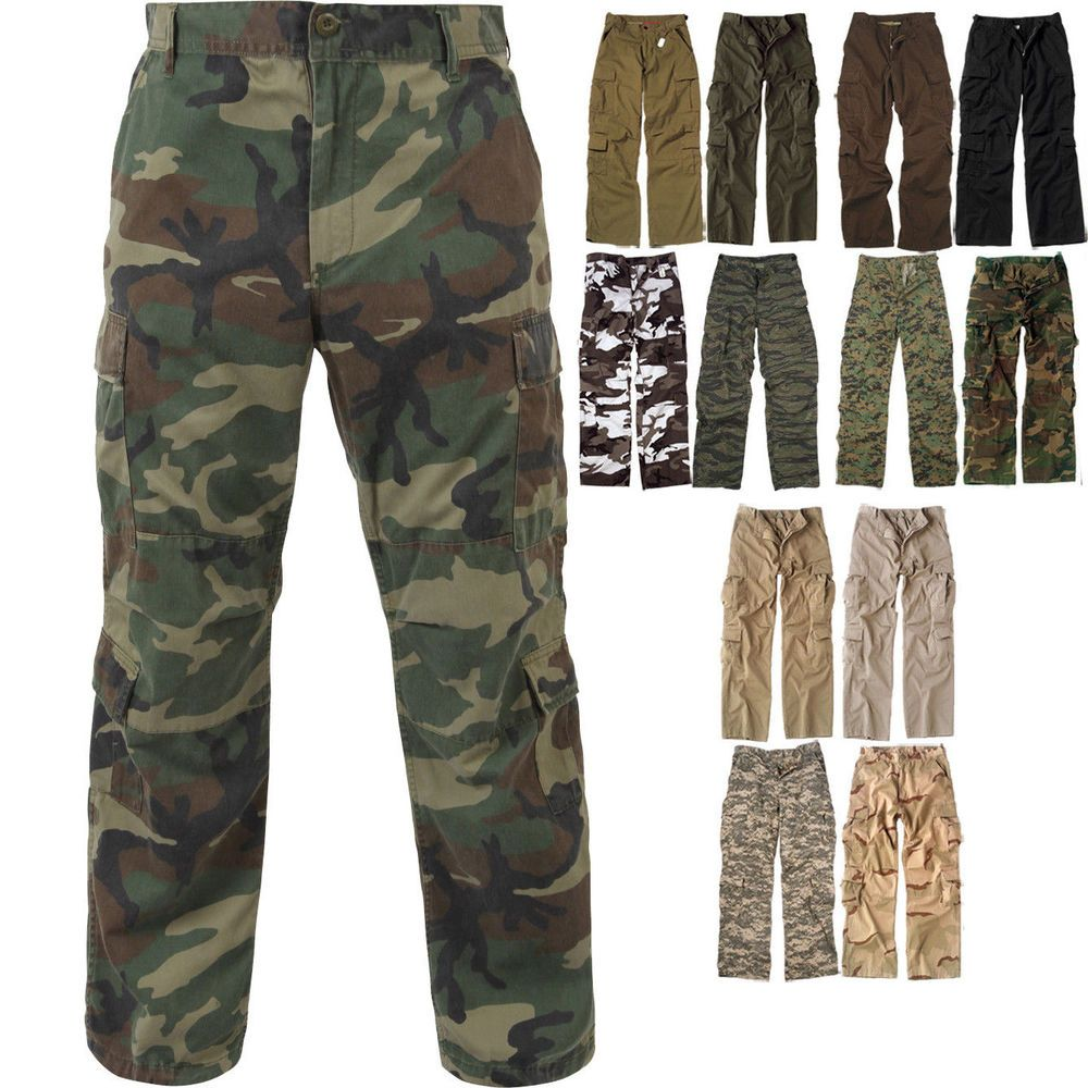 6563581ca2 Military Paratrooper Fatigues 8-Pocket Cargo Camo Pants Washed Army  Tactical #Rothco #Cargo