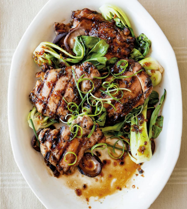 asian-flavored chicken with shiitakes and bok choy