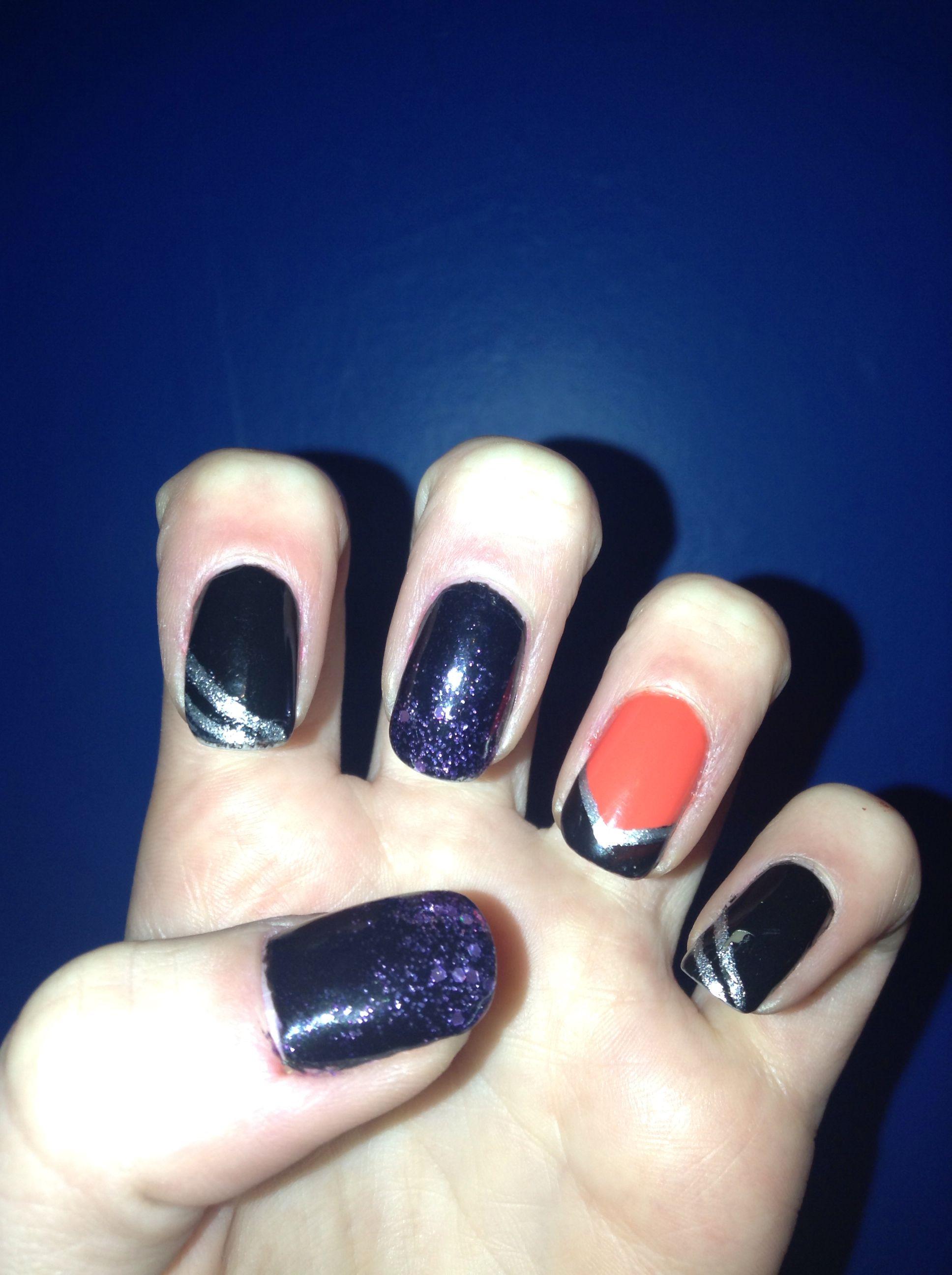 Halloween black and orange nails my nails pinterest orange nail