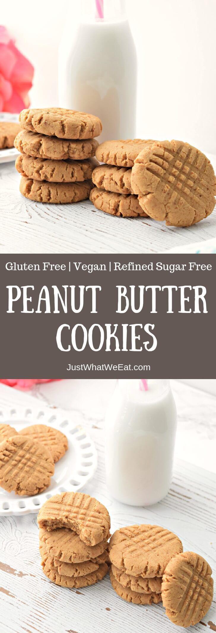 Peanut Butter Cookies - Gluten Free, Vegan, & Refined Sugar Free #cookies