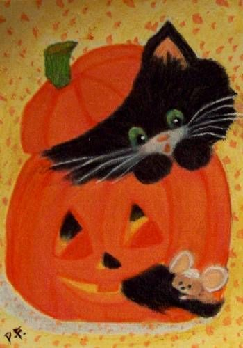 ORIGINAL ACEO ART PAINTING HALLOWEEN KITTY CAT AND MOUSE PUMKIN ATC.EBSQ BY PF
