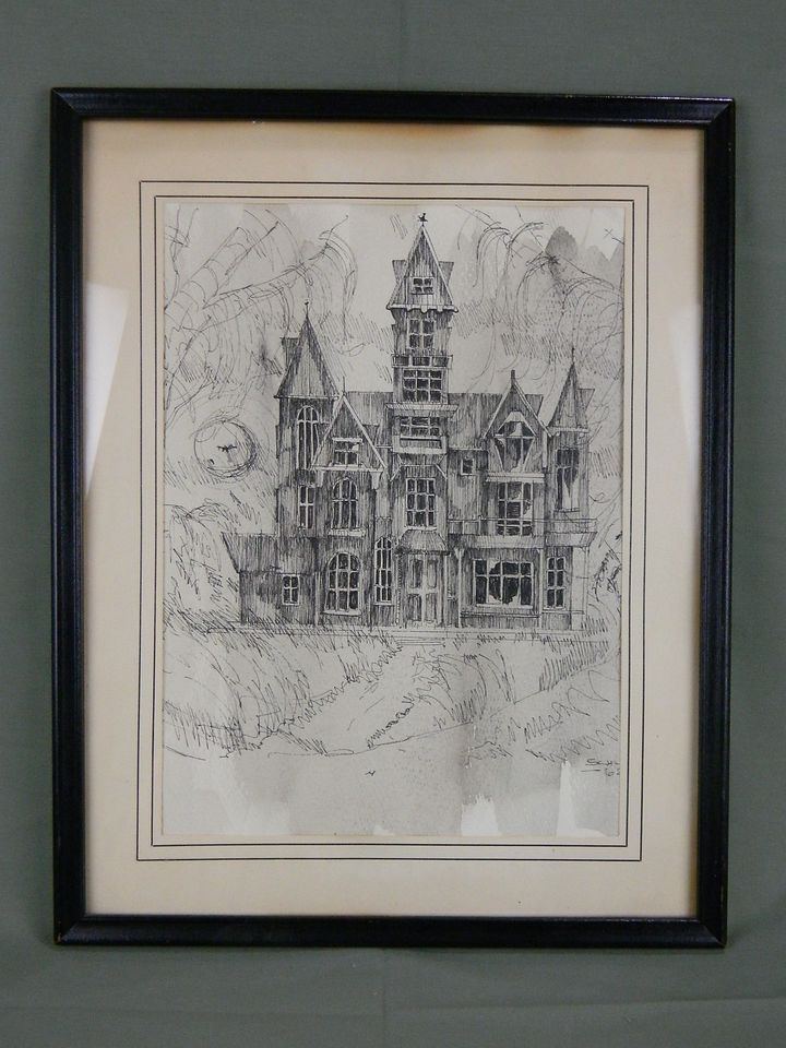 Architecture Drawing Mac ink pen art drawing spooky halloween architecture house signature