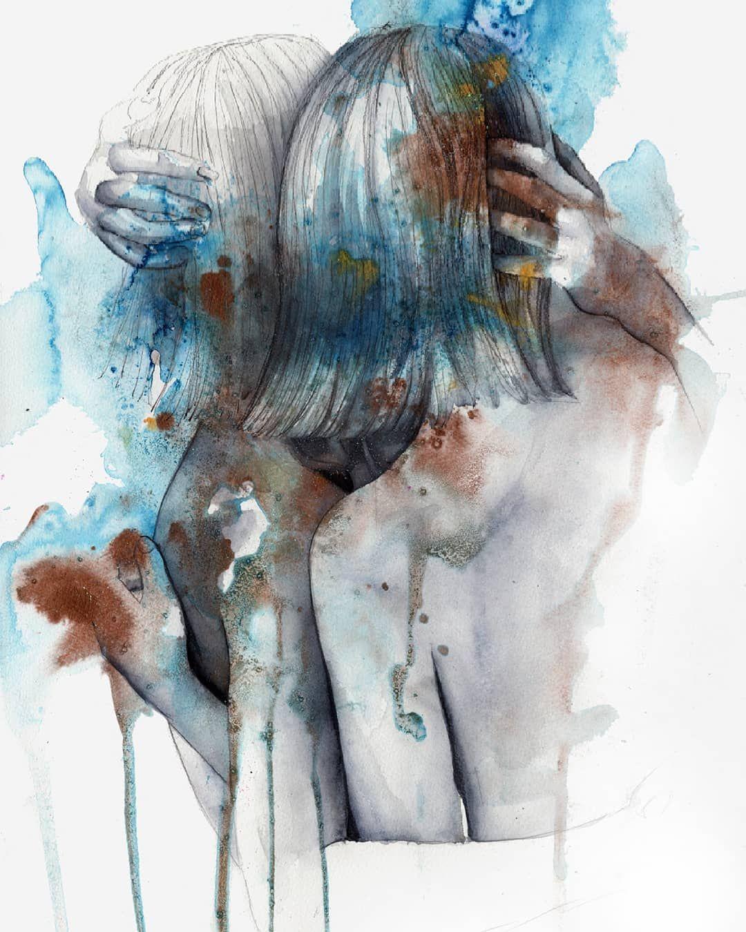 Title Avec Images Femme De Dos Aquarelle Tableau
