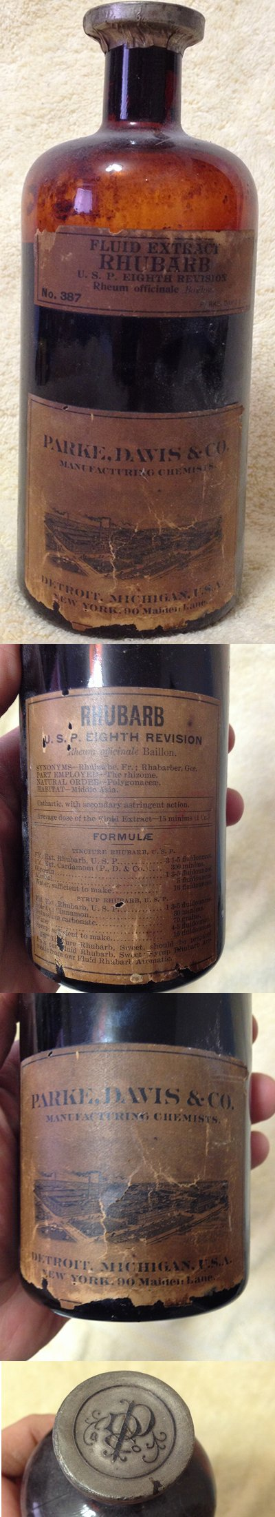 Absolute ethyl alcohol bottle vintage chemical bottle science lab - Very Old Medicine Bottle Of Rhubarb Extract From Parke Davis Still Has Its Contents