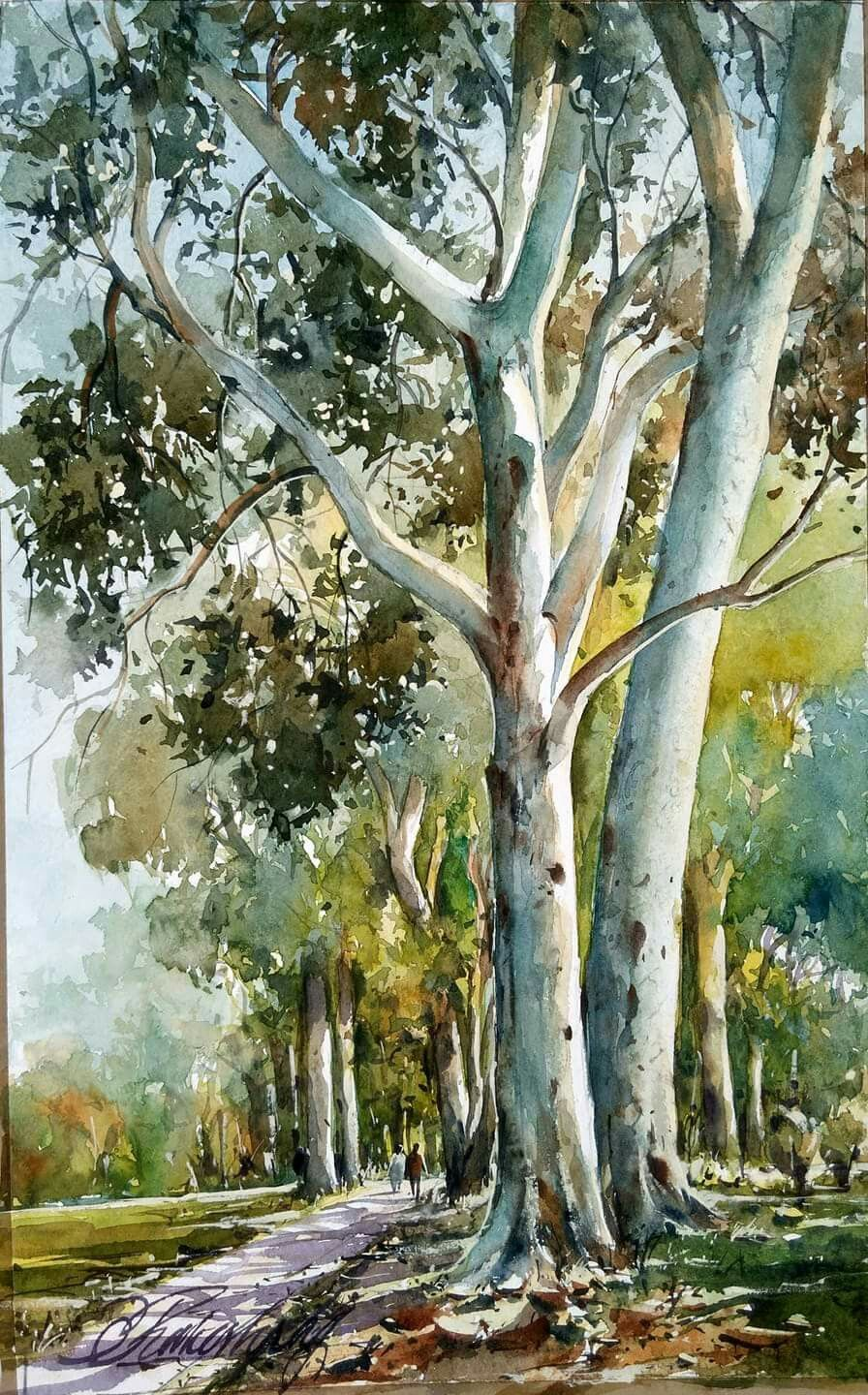 Beautiful Watercolor Painting Of A Park Watercolor Landscape