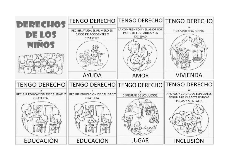 Los derechos de los niños en blanco y negro para colorear ...