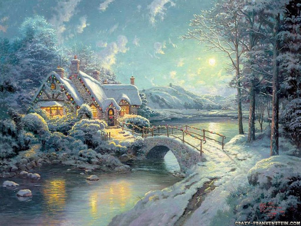 Pretty Winter Scene Christmas Wallpaper Thomas Kinkade Christmas Thomas Kinkade Thomas Kinkade Art