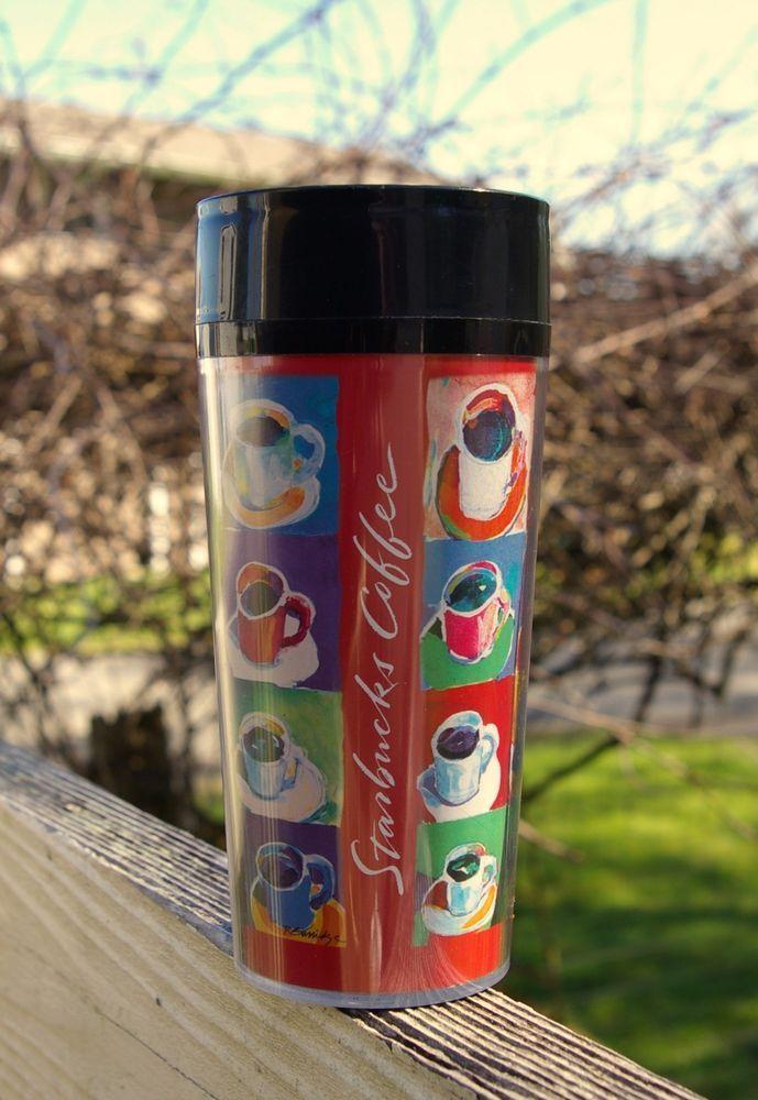 "Starbucks Coffee Company ThermoServ Travel Tumbler by Artist R Burridge 7"" Tall    eBay"