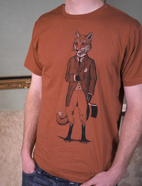 Dapper Fox T shirt sur rouille ou argent par ScatterbrainTees