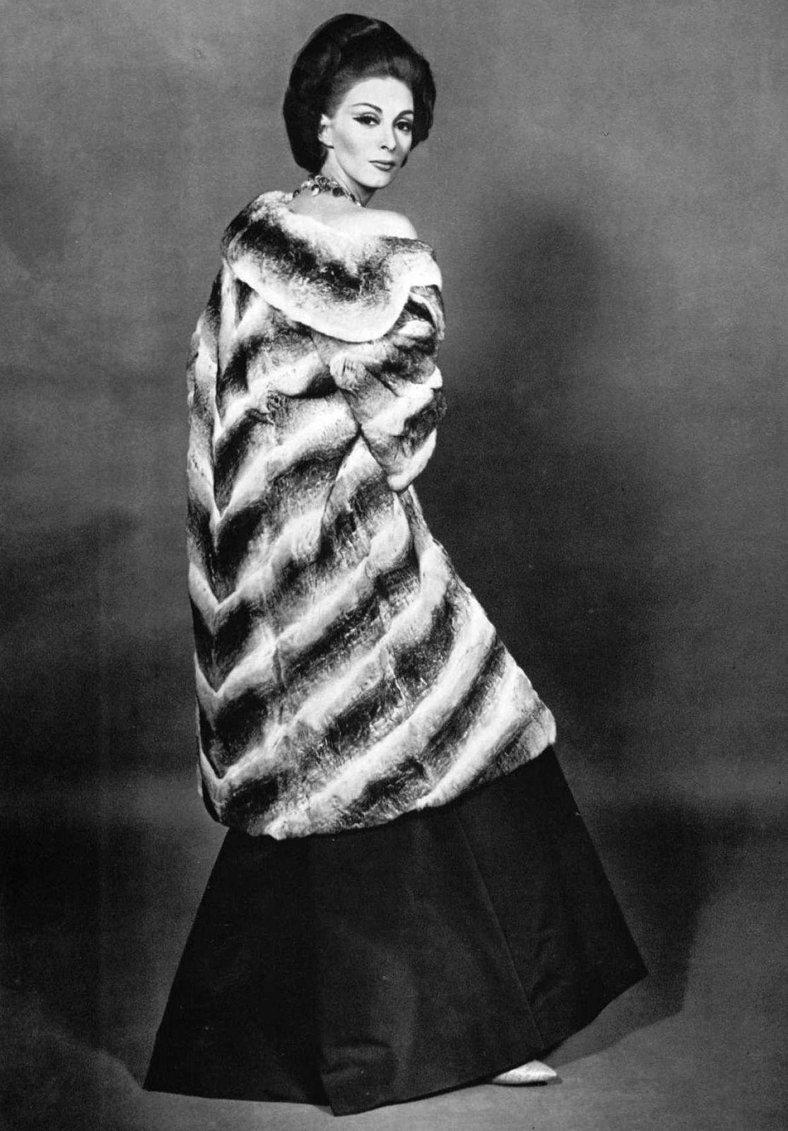 a7fcbe58cd2 Wilhelmina in Aurora Chinchilla coat by Max Reby, photo by Robert Laurent,  Paris, 1962