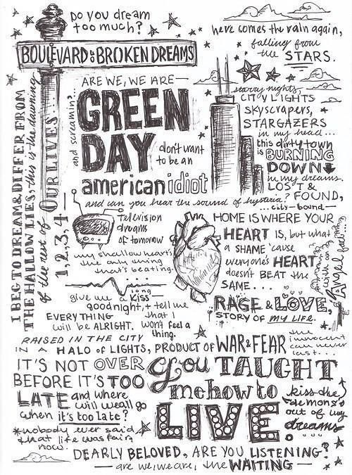 GREEN DAY! ) Green day lyrics, Green day, Lyric art