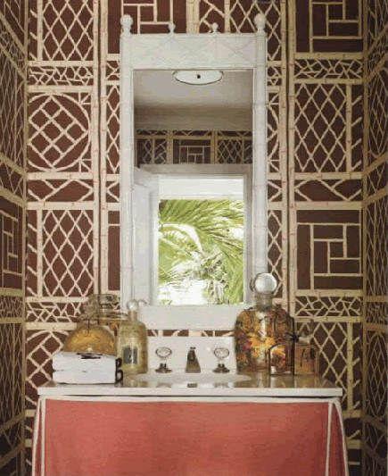 Brown And Natural Lyford Trellis Wallpaper By China Seas