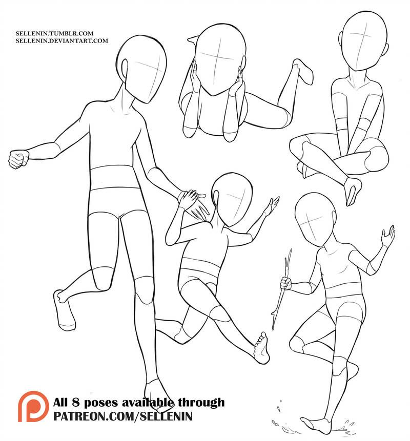 Pose Set 7 Kids By Sellenin Baby Drawing Drawing Reference Drawing Body Poses