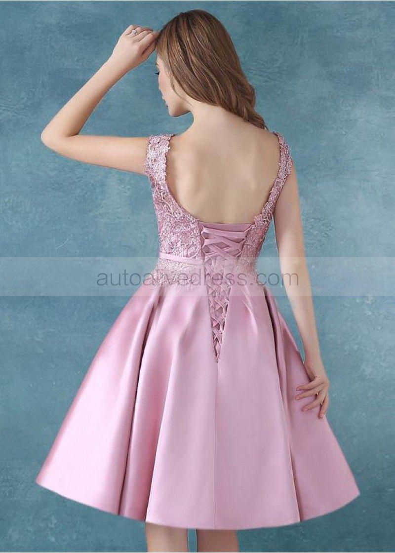 Mauve Satin Lace Corset Back Short Prom Dress | Short prom dresses ...