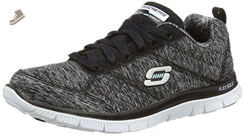 Skechers Sport Women's Flex Appeal -Pretty City Fashion Sneaker,  Black/Grey, 8