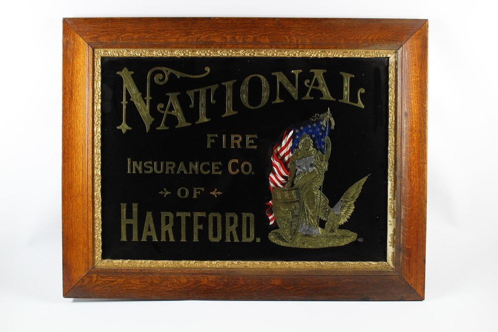 Antique National Fire Insurance Company Of Hartford Reverse Painted ...