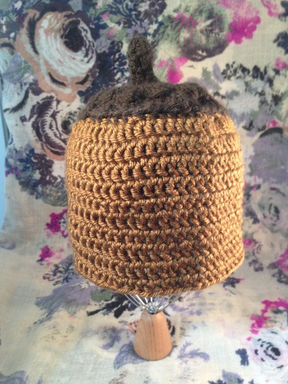 Crocheted baby acorn hat brown  by RHArtsLab