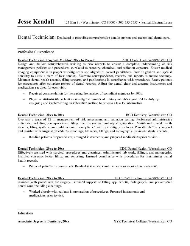 Dental Technician Resume Sample - http\/\/wwwresumecareerinfo - dental office manager duties
