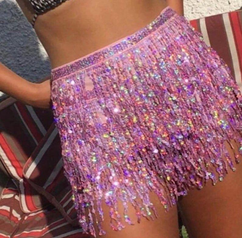Women/'s Sequins Belly Dance Mini Dress Dancer Tassel Fringe Skirt Club Wear UK