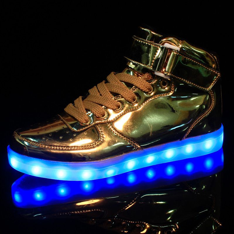 Hot Sale Golden Silver Led Shoes Glowing Cool Light Flat