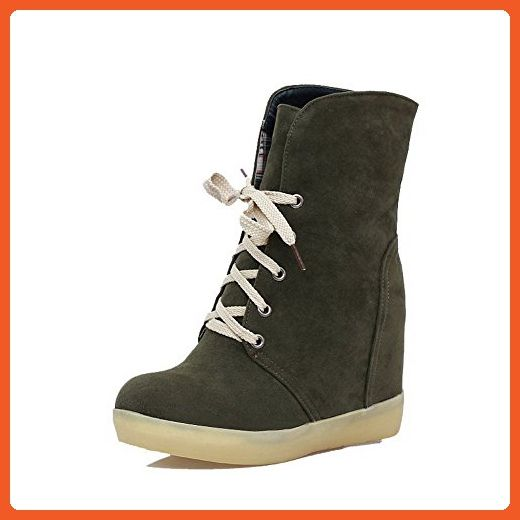 Women's Lace Up Low Heels Imitated Suede Solid Low Top Boots
