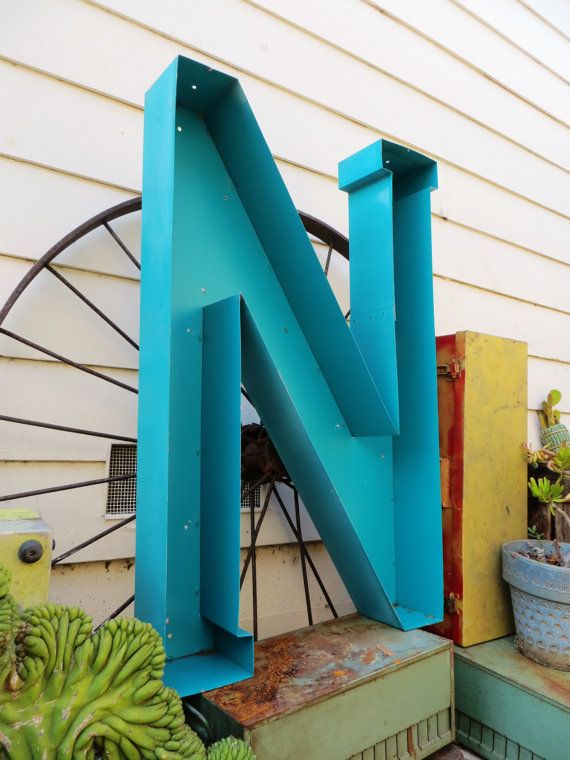 Neon Channel Sign Letter Capital 'N' Very Large by MerlesVintage, $145.00