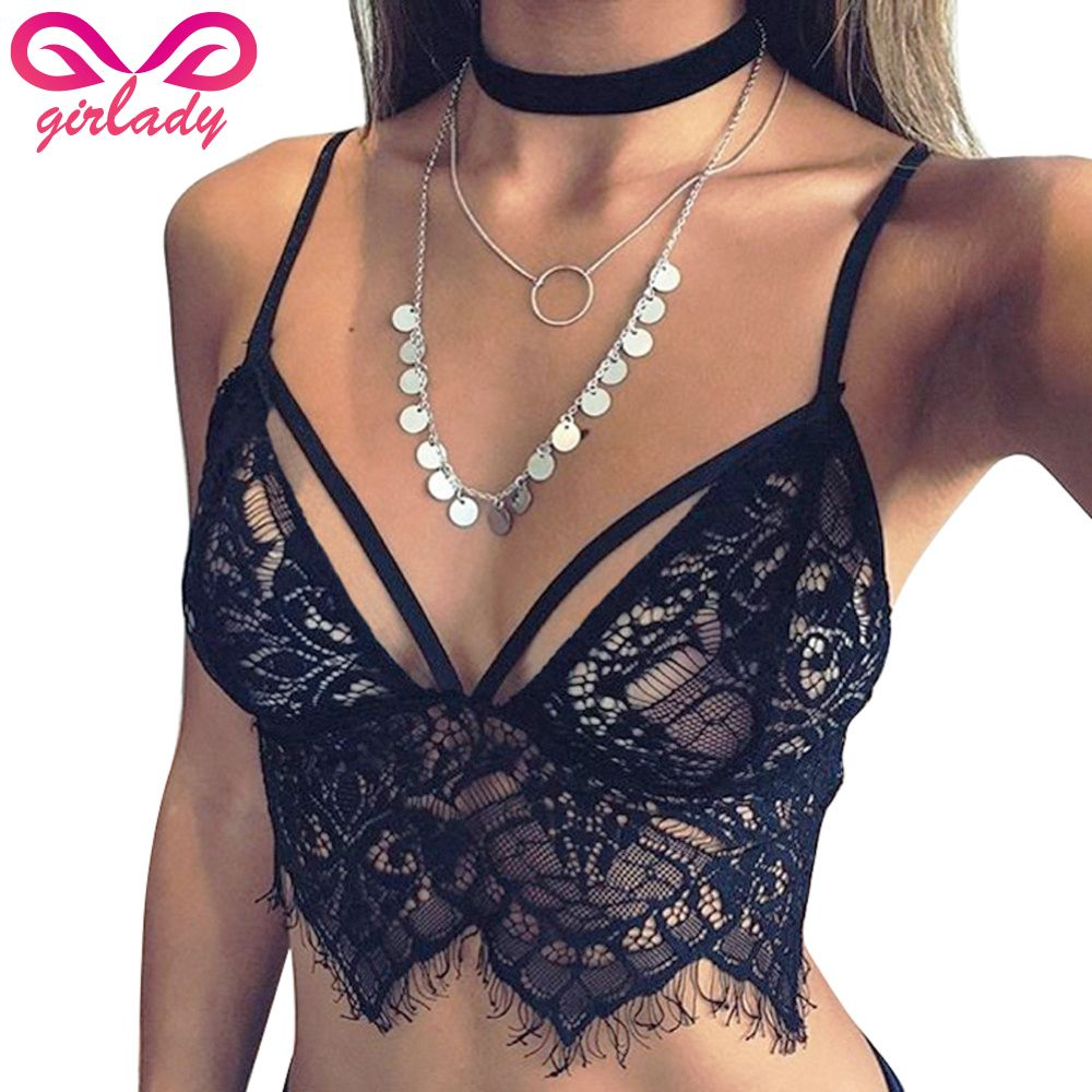 493093fc68 Find More Bras Information about GIRLADY Sexy Lace Bra Top For Women  Strappy Cotton Ladies Black White Bralette Transparent Lingerie Brassiere  Femme Wire ...