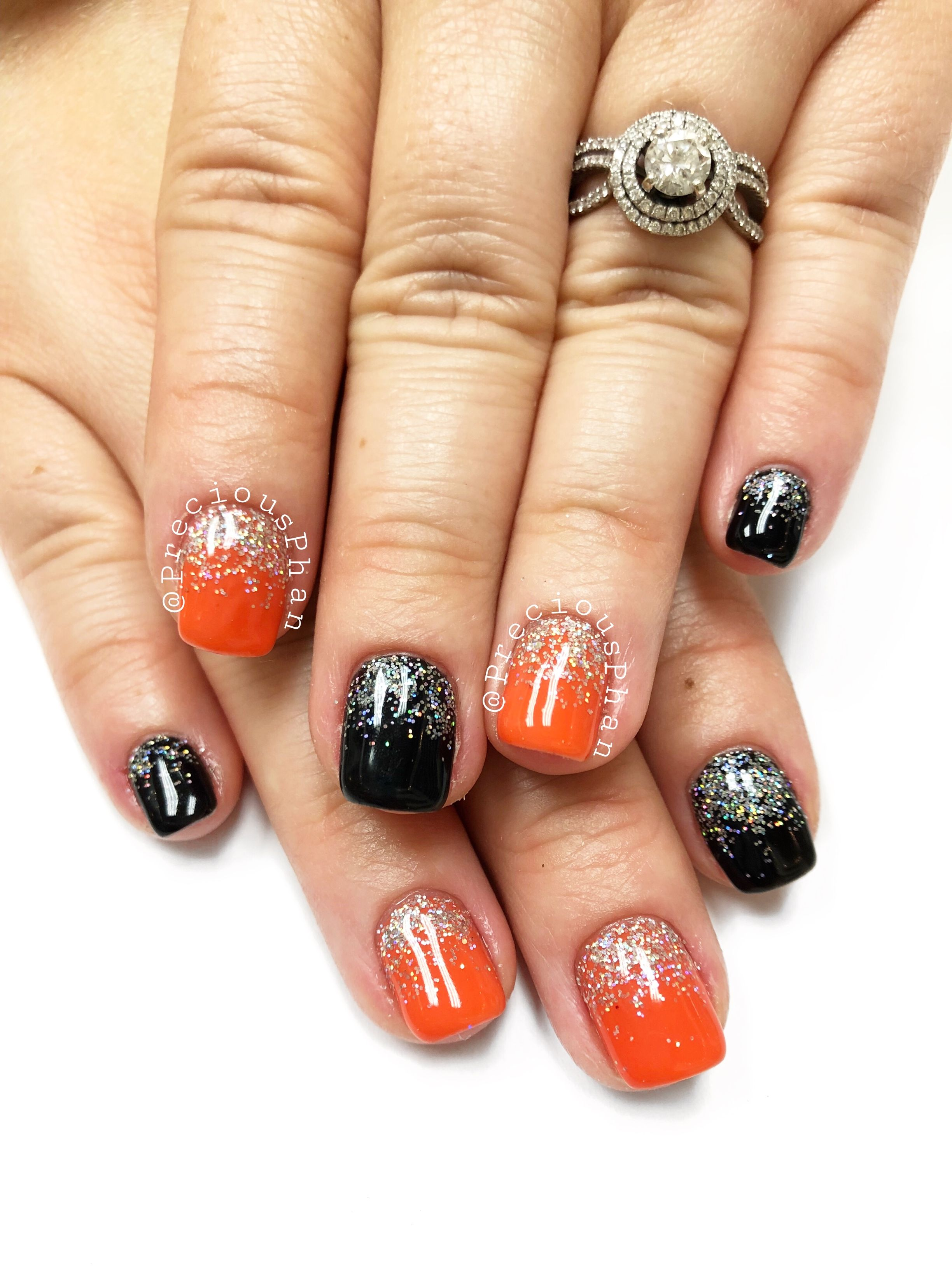 Halloween Nails Black And Orange Ombre Nails Preciousphan Ombre Nails Orange Ombre Nails Nails