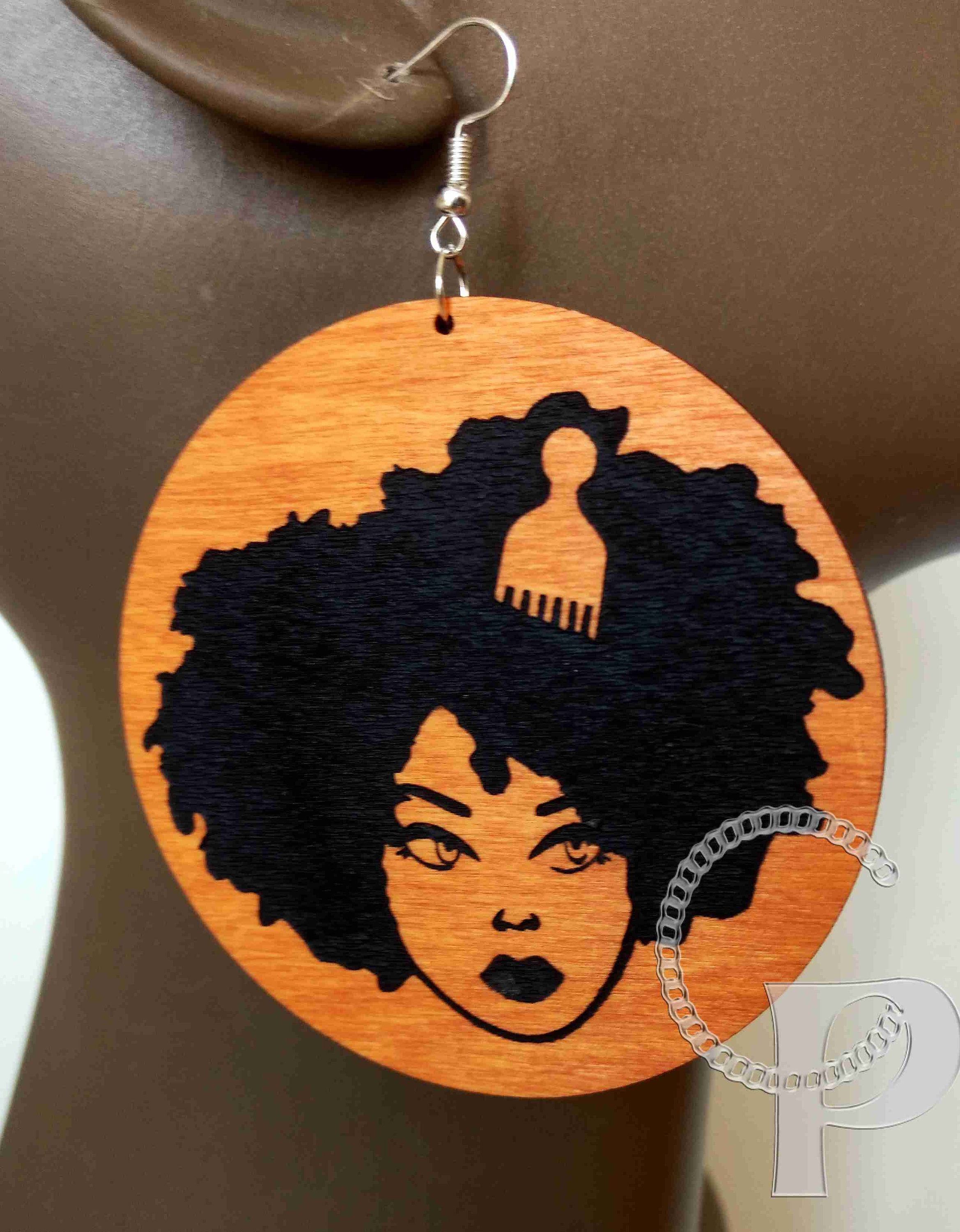 I Love my Roots Afro Bohemian Retro Statement Wood Africa earrings