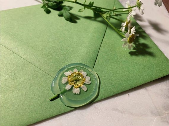 Handmade Clear Wax Seal with Real Chamomile Flowers