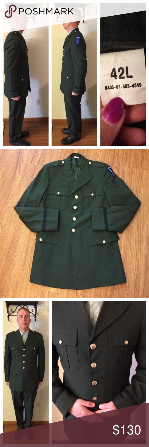Vintage army dress green class a coat size l same day shipping