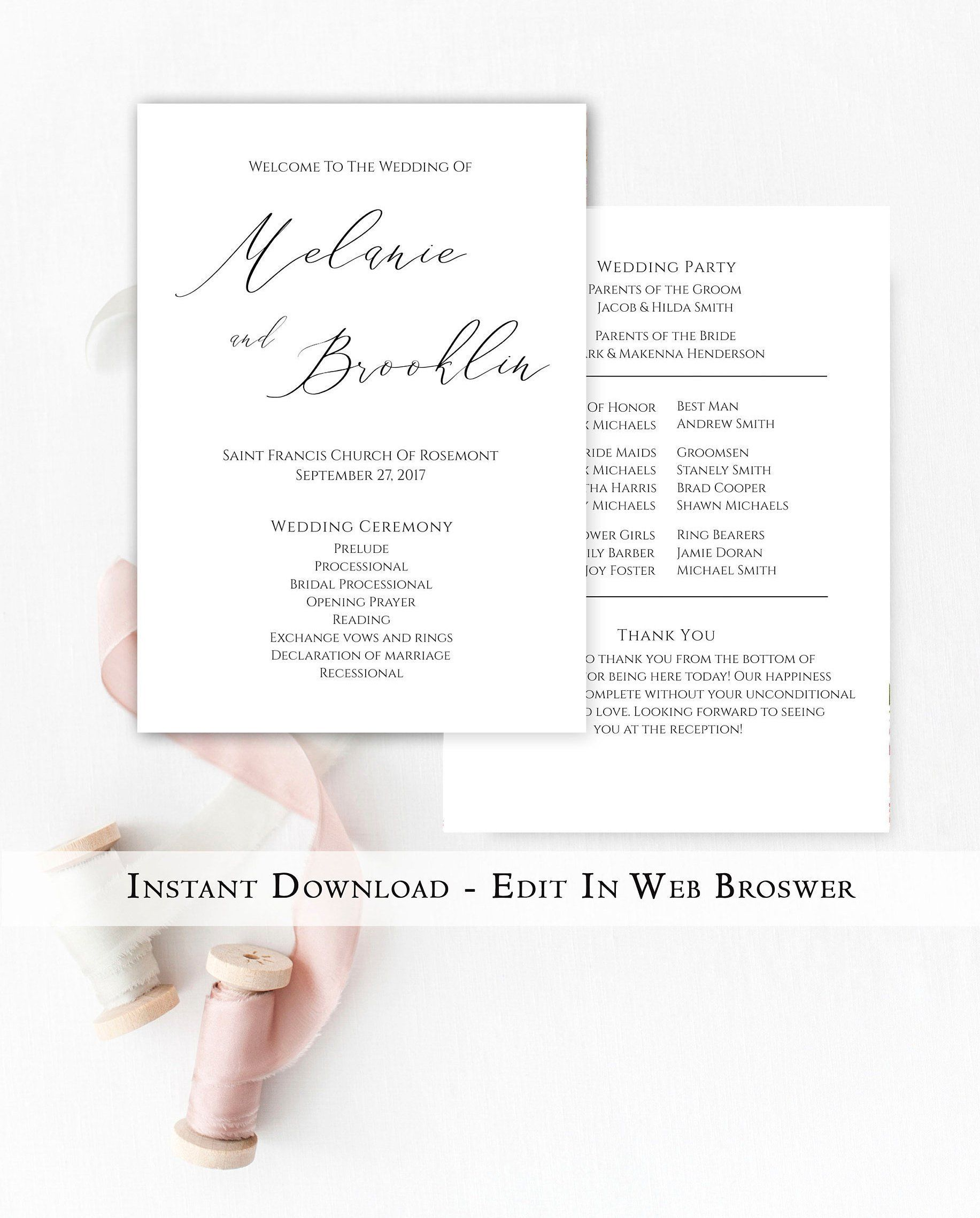 printable wedding program template instant download simple