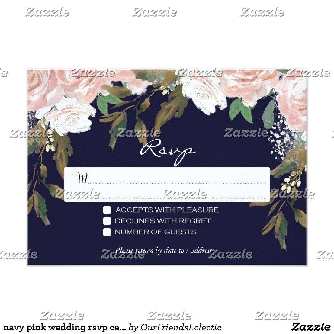 navy pink wedding rsvp card floral modern Zazzle.co.uk