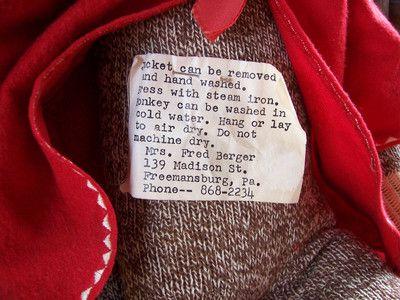 Vintage Sock Monkey Origninal Folk Art Hand Made with Label   eBay