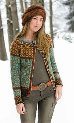Complicated color work sweater knitting pattern with ...