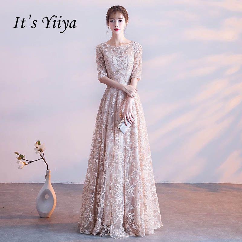 It s YiiYa Half Sleeves Appliques O-neck Elegant Tulle Flower Zipper Luxury  Party Formal Dress Floor Length Evening Dress LX064 e6bc0be90d7b