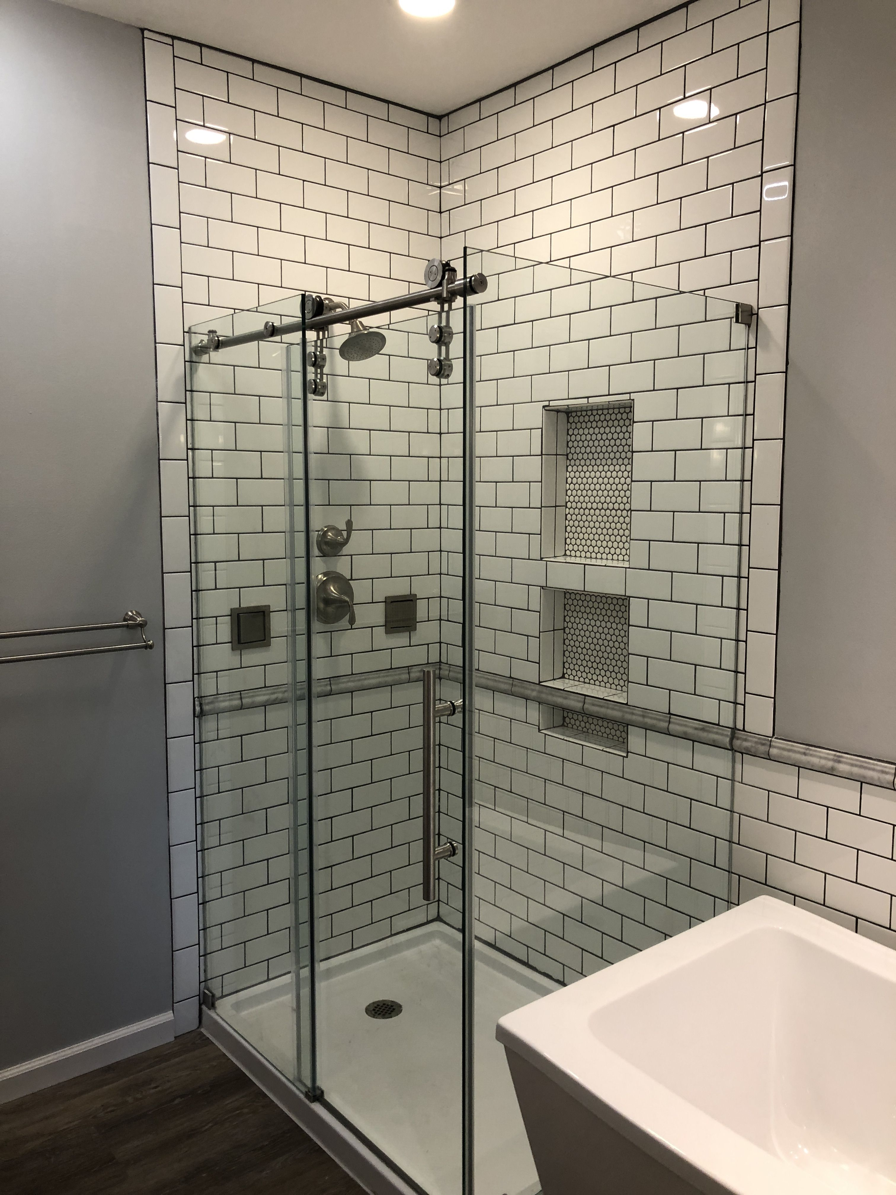 White Subway Tile Grey Grout Glass Shower Enclosure Exquisite