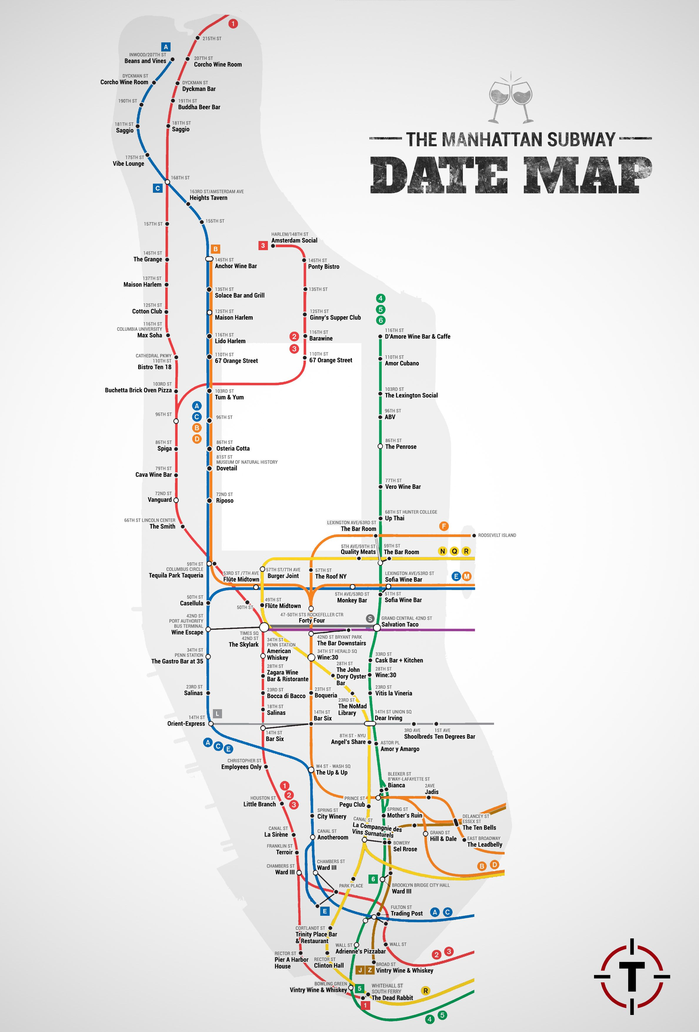 date spots on a map nyc infographic