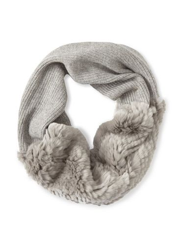 Quinn by Qi Cashmere Women's Payge Knit Circle Scarf with Fur (Silver Gray/Granite Fur)