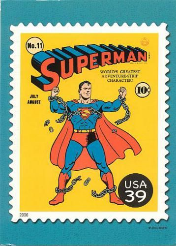 Superman USA stamp postcard