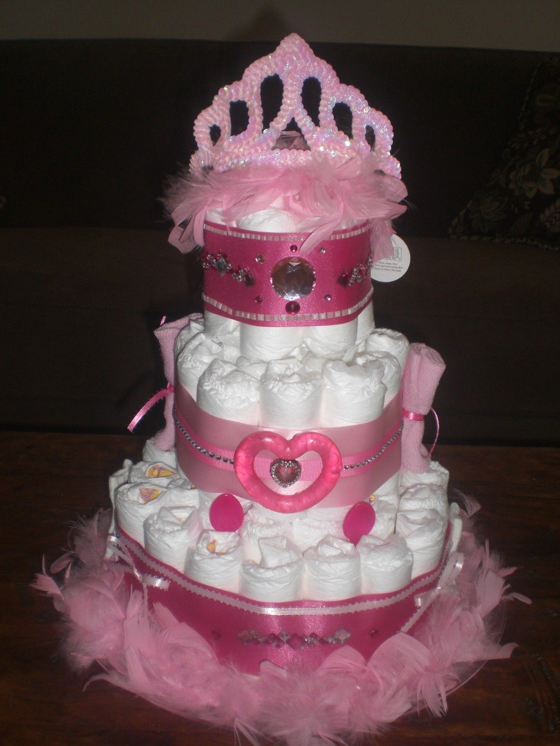 Baby Girl Shower Diaper Cakes | Bows And Bling Diaper Cake Girl Baby Shower  Other Colors