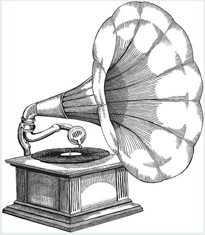 illustration of an early phonograph | Desenhos para ...