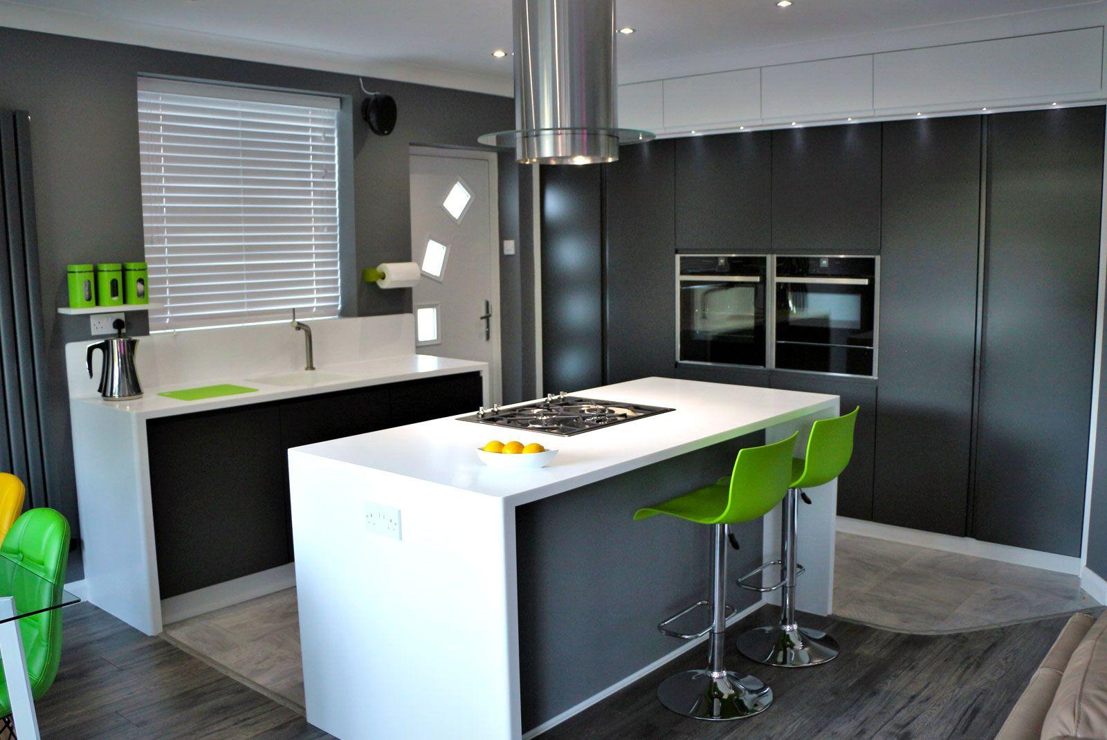 An Innova Luca Carbon Handleless Kitchen Handleless