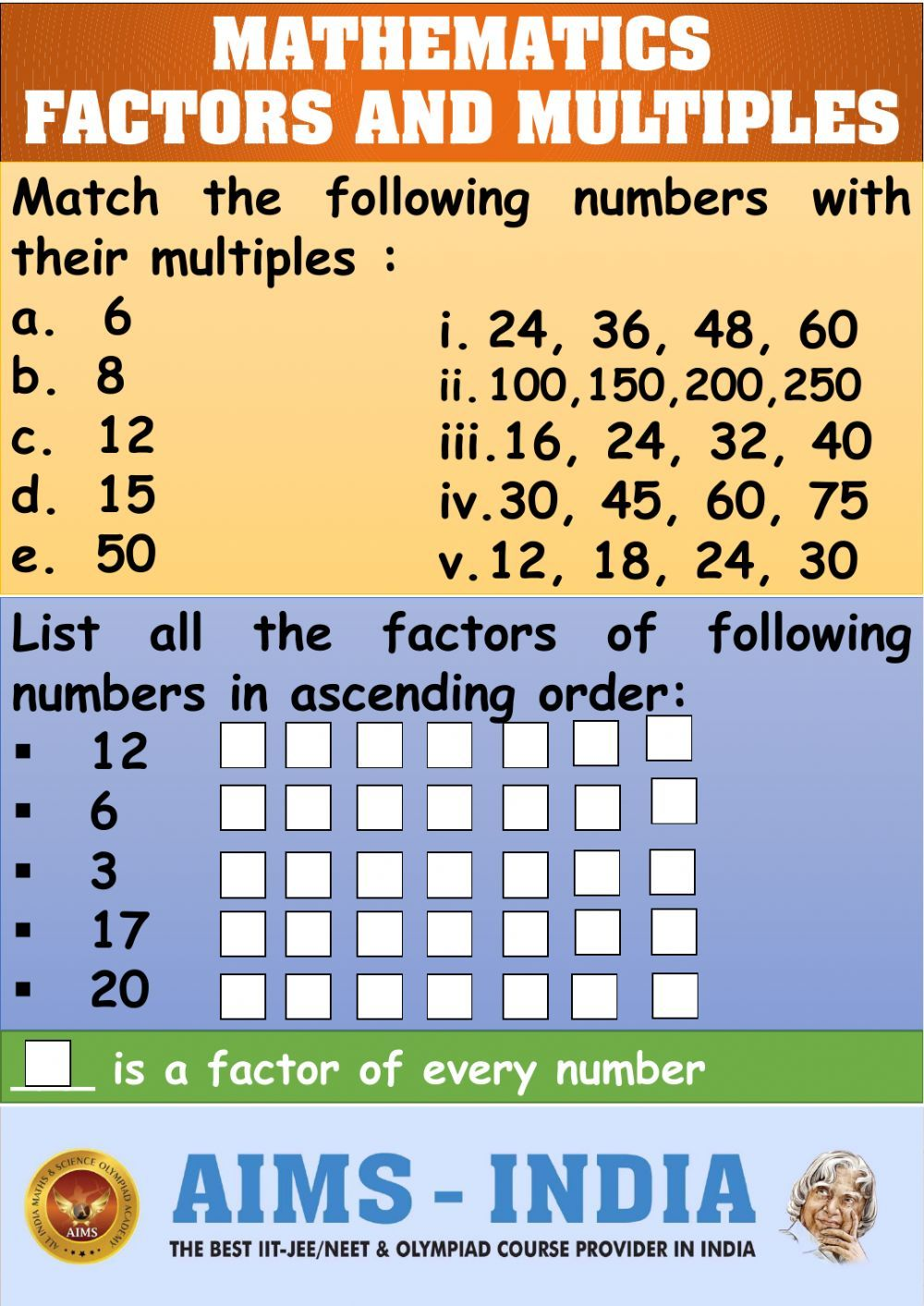 Online Worksheet For You Can Do The Exercises Online Or Download The Worksheet As Pdf In 2021 Factors And Multiples Math Number Sense Mathematics Worksheets