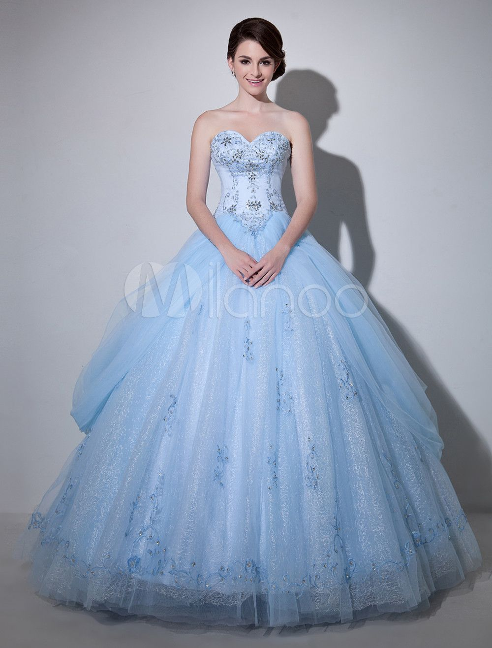 Light sky blue sweetheart ball gown strapless embroidered bridal