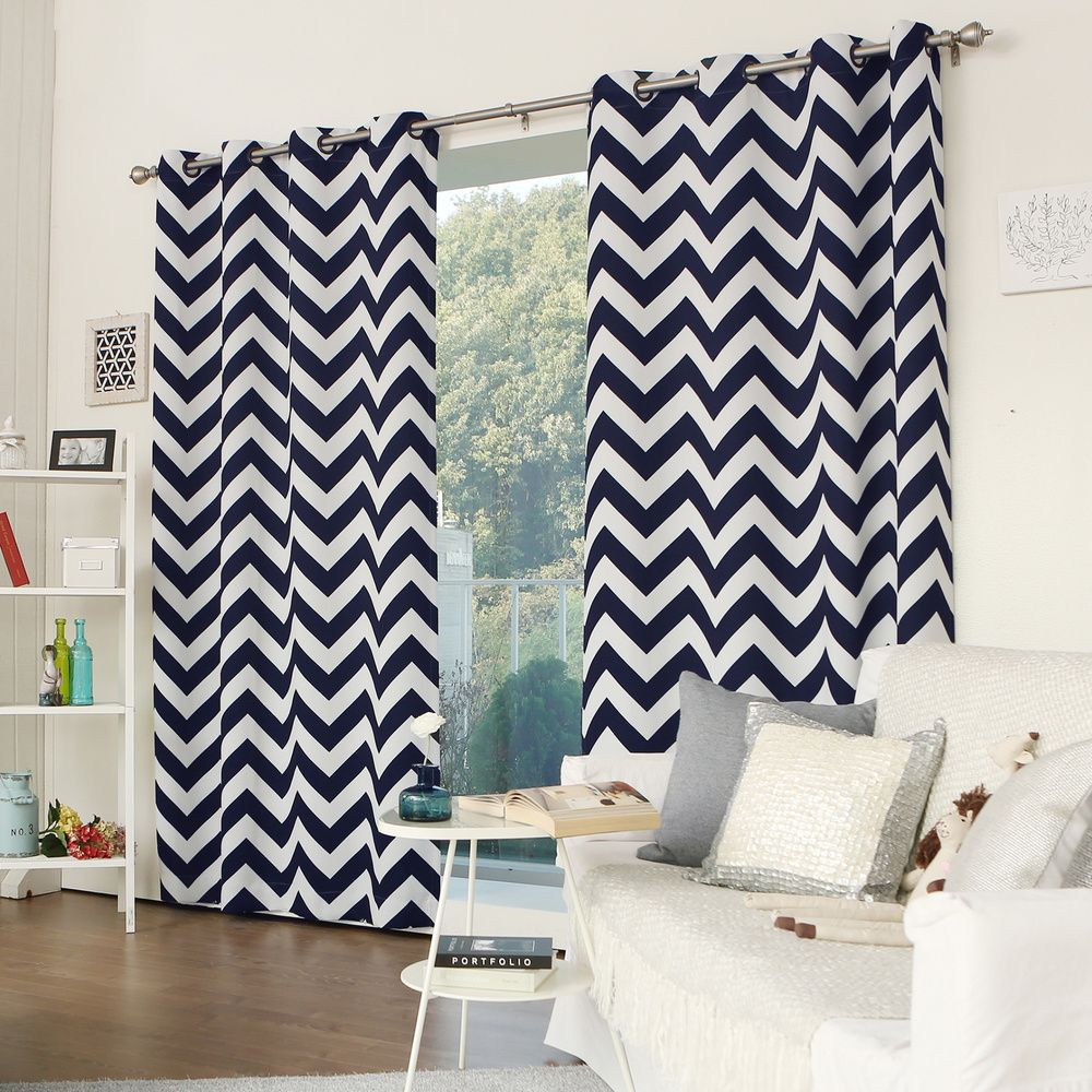 Curtain pair overstock shopping great deals on lights out curtains - Aurora Home Room Darkening Chevron Print Grommet Top 84 Inch Curtain Panel Pair By Aurora Home Room Darkeningcurtain Panelscurtainsgreat