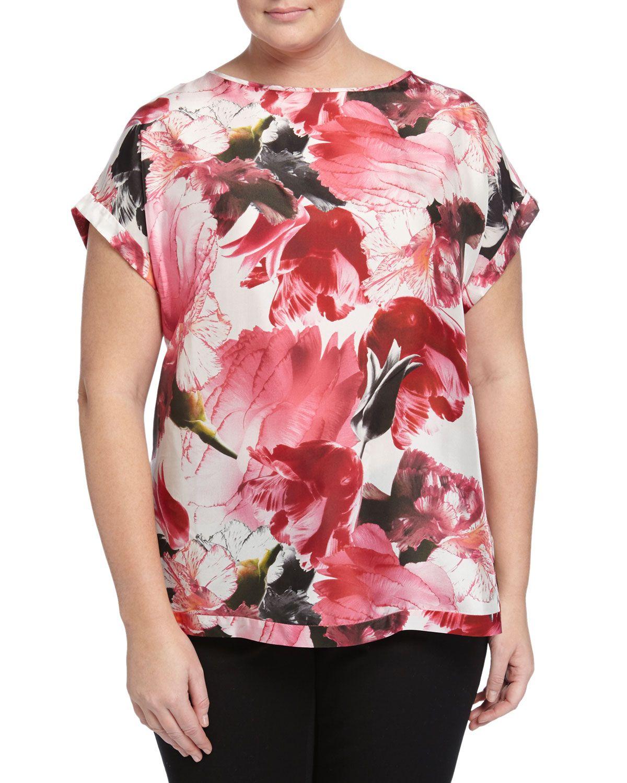 Lafayette 148 New York Plus Donna Short-Sleeve Blouse, Wildflower, Women's, Size: 18W